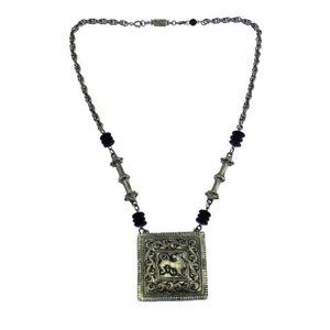 Huge Accessocraft NYC Silver Lion Pendant Necklace